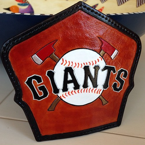 San Francisco Giants fire helmet shield.