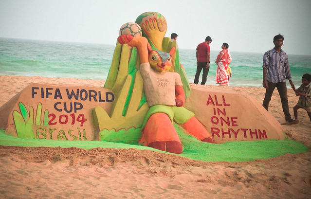 FIFA World Cup Sand Sculpture Puri Beach by Sri Manas Kumar Sahoo