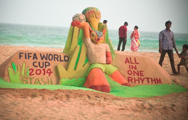 FIFA World Cup Sand Sculpture Puri Beach by Sri Manas Kumar Sahoo
