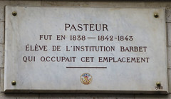 Photo of Louis Pasteur marble plaque