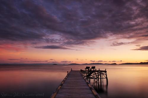 blue sunset sea beach port island pier sand clear tropic papua rajaampat