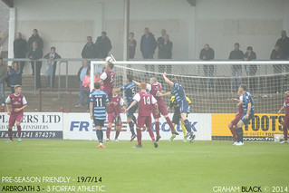 Arbroath 3 - 3 Forfar Athletic - Ricky Little leaps at the front post to head the ball away