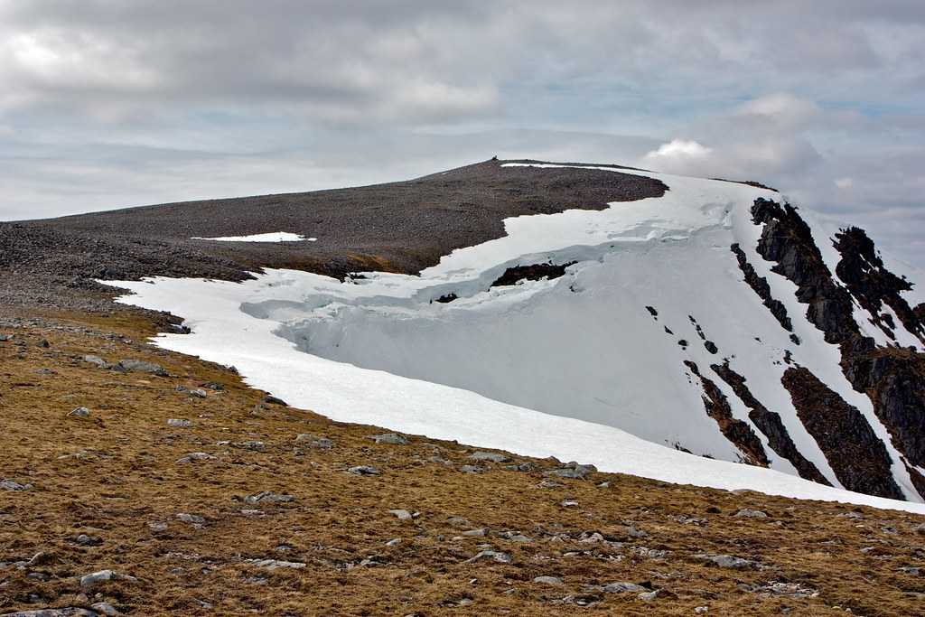 Collapsing cornice and the summit of Beinn a' Chlachair