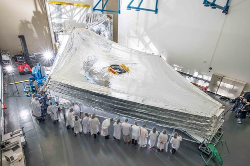 NASA's Webb Sunshield Stacks Up to Test