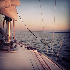 The sun is setting and Chicago is in sight. Imp will be on B Dock shortly. #cycrtm #belmontharbor #chicago #lakemichigan