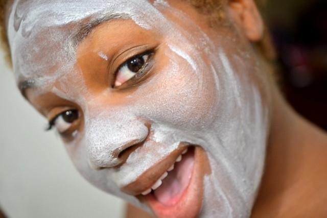 Refresh Natural Skincare masque on skin