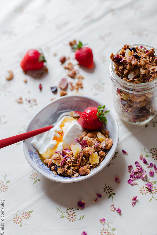 Rose Petal Granola with Dried Fruit | the Whinery by Elsa Brobbey