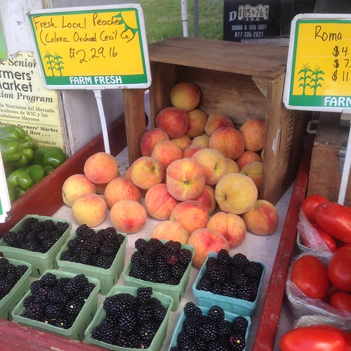 peaches, blackberries and tomatoes