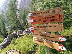 Wegweiser Pisciadù Klettersteig