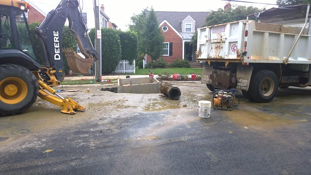 Water Main Break in Rosemont on Russell Road