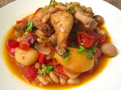 Stew Of Cornish Hen In Merlot With Beans And Vegetables
