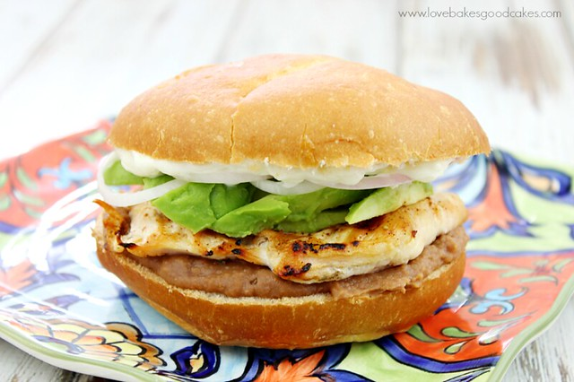 Grilled Chicken Torta on a plate.