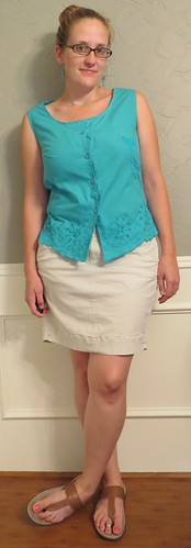 Dragonfly Blouse & Khaki Skirt - After