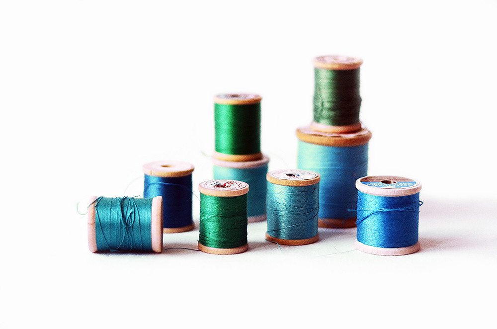 Nine Vintage Blue and Green Wooden Thread Spools, Ocean Hues Collection