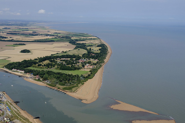 Bawdsey Manor and the mouth of the River Deben aerial