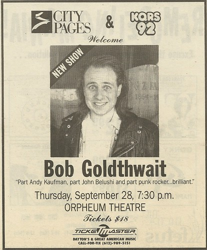 09/28/89 Bobcat Goldthwait @ Orpheum Theatre, Minneapolis MN