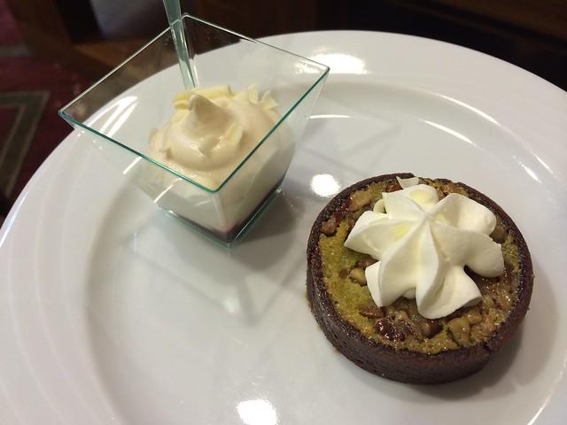 Peach melba and chocolate pecan tart - Hyatt Regency Crystal City