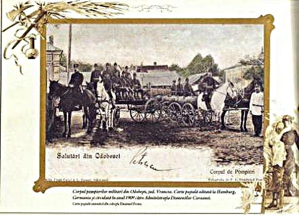 Carte poştală cu pompierii militari din Odobeşti. Circa 1900