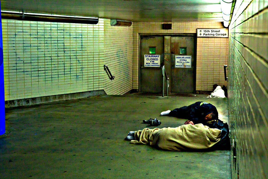 Three-men-sleeping-in-concourse-just-outside-Suburban-Station-on-9-16-14--Center-City