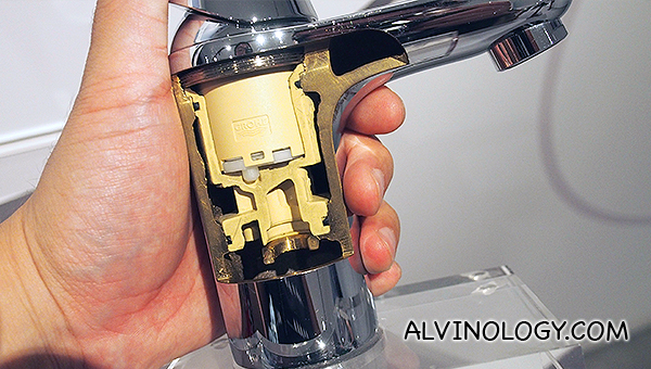 Cross section of a Grohe basin mixer faucet