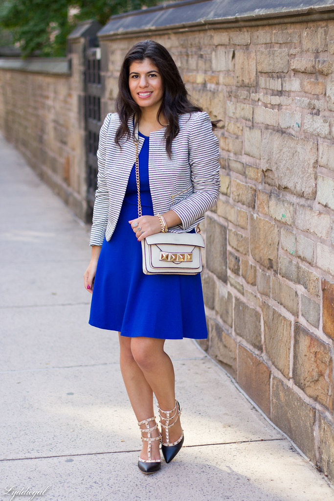 Cobalt Dress, Striped Blazer.jpg