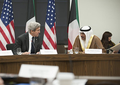 U.S. Secretary of State John Kerry speaks with Kuwait First Deputy Prime Minister and Foreign Minister Sabah al-Khalid al-Sabah at the U.S.-Kuwait Strategic Dialogue at the U.S. Department of State in Washington, D.C., on October 21, 2016. [State Department photo/ Public Domain]