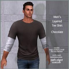 [PP Casuals] Men's Layered Tee Shirt - Chocolate (T)