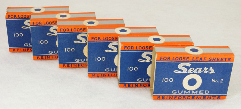 RD14969 6 Boxes of Vintage Sears Gummed Reinforcements 100 No. 2 For Loose Leaf Sheets DSC06766