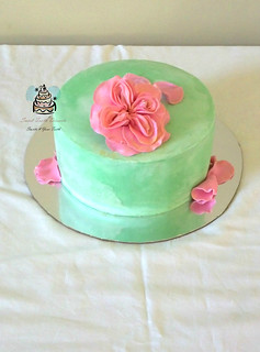 Green and Pink Celebration Cake