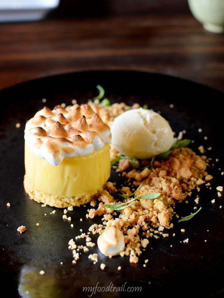 Japanese yuzu tart - yuzu citrus tart, vanilla ice cream, yuzu jelly & meringue - Sake Restaurant, Melbourne