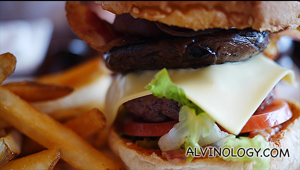 Au Chocolat's juicy signature burger ($25)