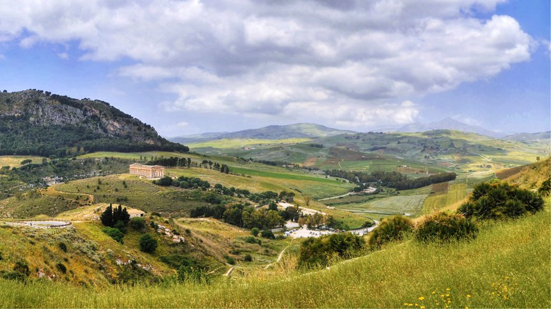 The Sicilian countryside strewed by temples