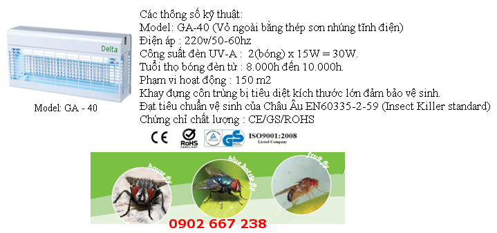 www.123raovat.com: Đèn diệt côn trùng thế hệ mới Delta Germany