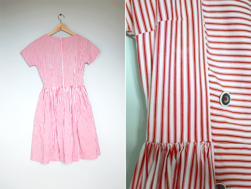 red-white-stripe-dress-1950s c