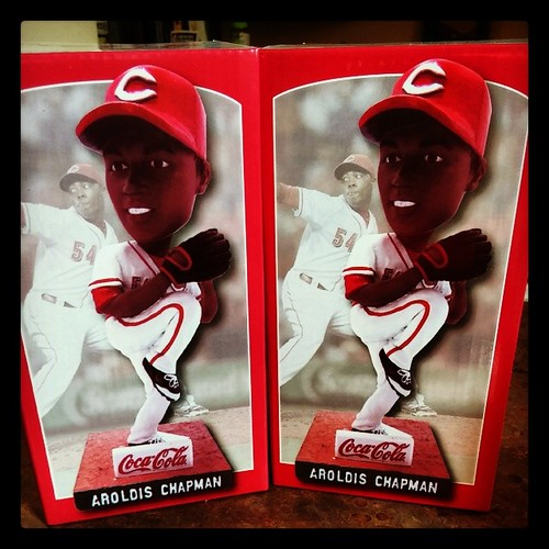 We got our @Reds Aroldis Chapman bobbleheads!!! #Reds