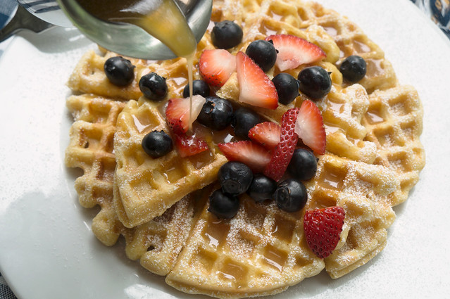 waffles with berries and maple butter