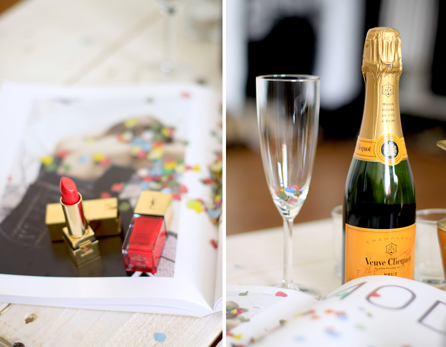 Celebrating the new CATS & DOGS layout look style webdesign confetti party veuve cliquot champagne Ricarda Schernus fashion blogger berlin 2