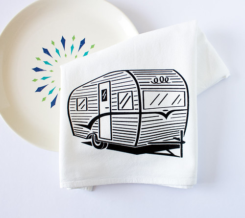 vintage trailer tea towel by vitamini