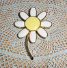 Vintage 1960s Enamel Daisy Pin by ART