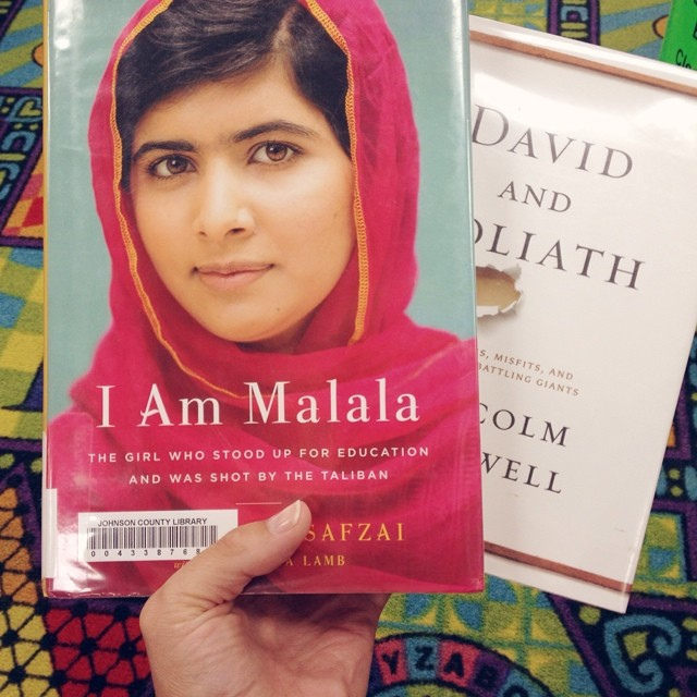 Pretty good haul for mama at the library too! #johnsoncountylibrary #librariesrule #malala #malcomgladwell #read