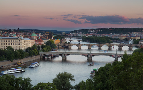city bridge sunset sky beautiful skyline canon river europe cityscape republic czech prague dusk bridges praha czechrepublic vlatvariver 5dmkiii