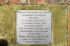 Photo of Marc Isambard Brunel, Isambard Kingdom Brunel, and Thames Tunnel brushed metal plaque