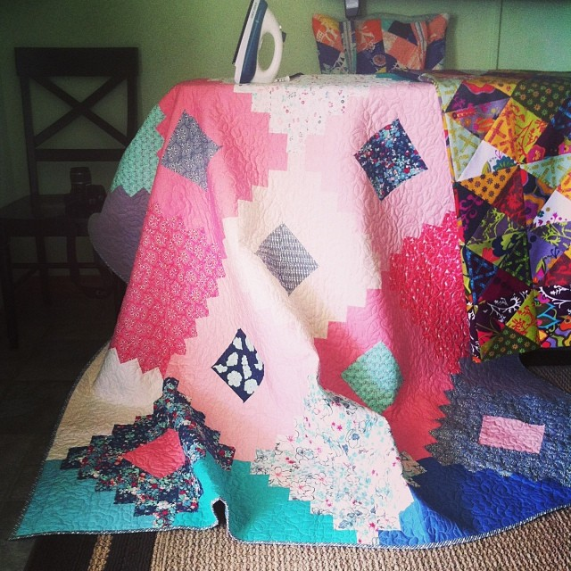 Pressing quilts for picture taking at the beach!