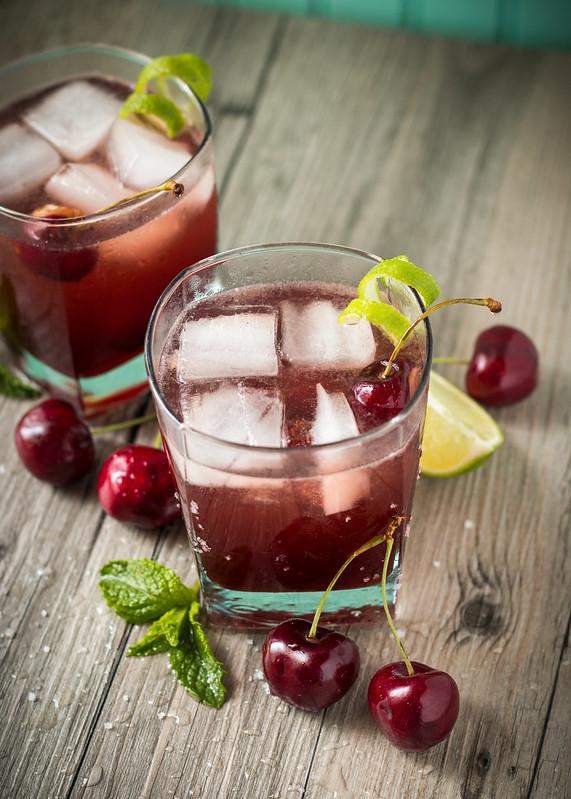 Sparkling Cherry Limeade with Homemade Maraschino Cherries