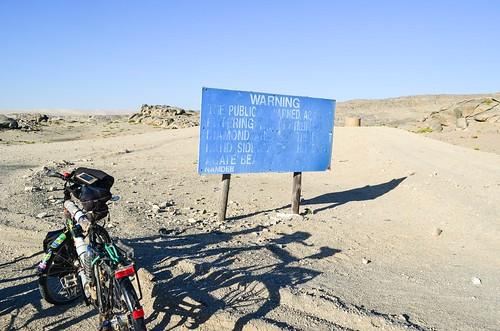 Sperrgebiet warning sign, forbidden diamond area. Trespassers will be prosecuted