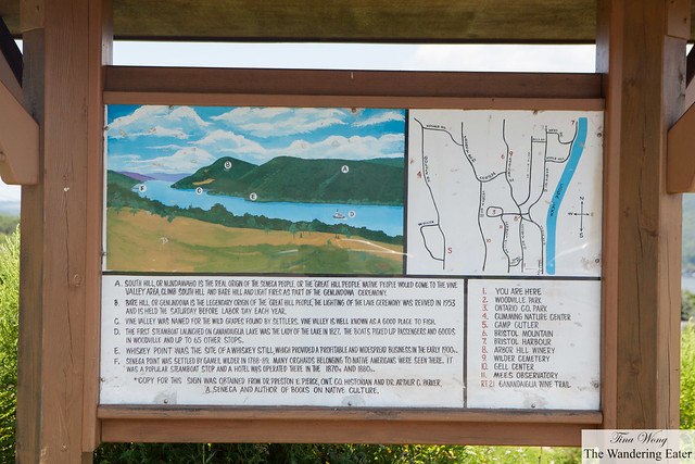 Diagram/map of Canadaigua Lake at South Bristol's Scenic Overlook