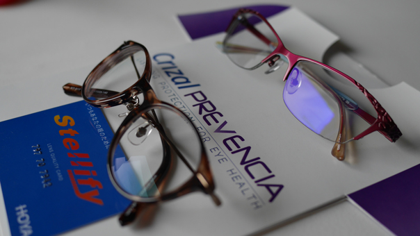 0f100a5f47f See the blue-violet light bouncing off the Crizal Prevencia lenses