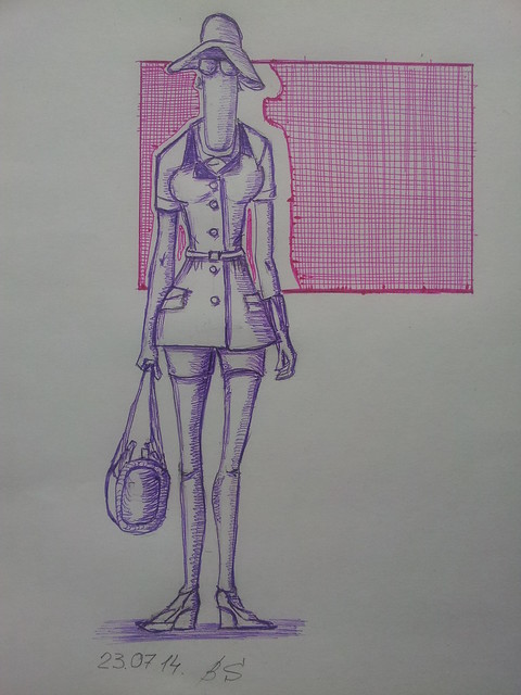 fashion illustration, safari, sketch pen,
