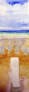 cuaderno en blanco , playa de Zarautz