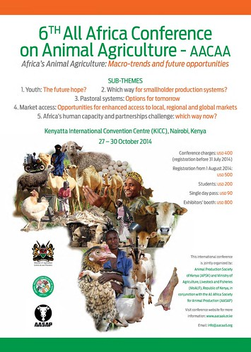 ILRI-designed poster announcing the All Africa Conference on Animal Agriculture 201414Ouma_AACAA_A2poster_24Apr_LowRes